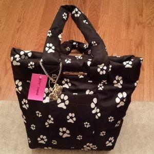 BETSEY JOHNSON PAW PRINTS Tote Bag